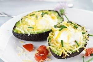 Cheesy Avocado Baked Eggs