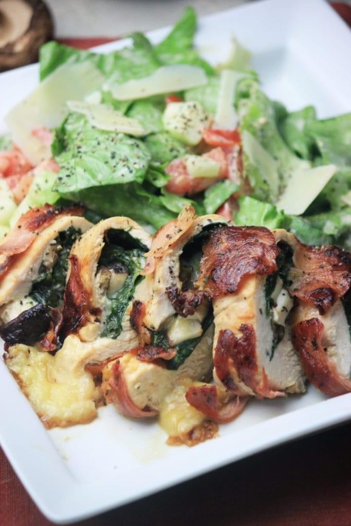 Keto Prosciutto Wrapped Smoked Gouda and Spinach Chicken Dinner Recipe