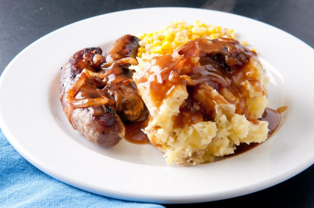Bangers and Cauliflower Mash