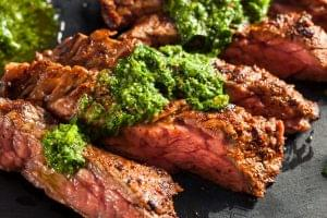 Grilled Hanger Steak with Cilantro Crema