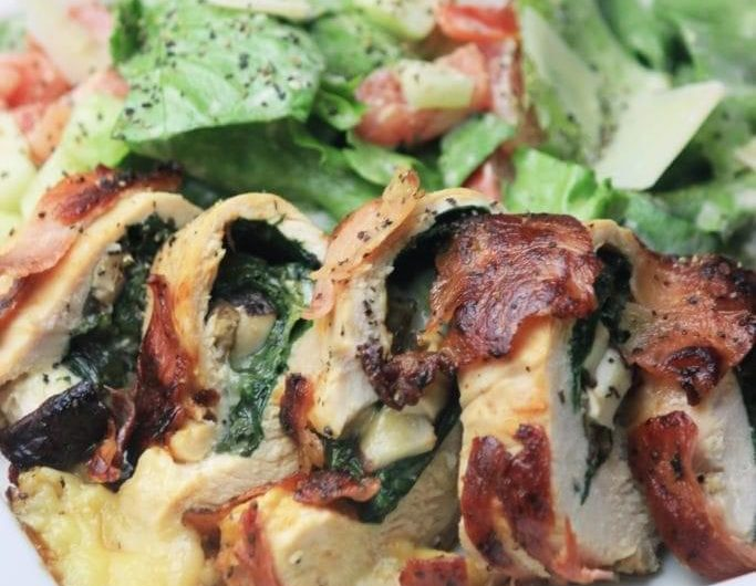 Prosciutto Wrapped Smoked Gouda and Spinach Chicken