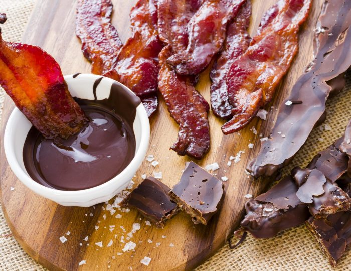 Chocolate covered bacon with salt.